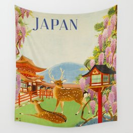 Vintage Mid Century Modern Japan Travel Poster Deer Red Pagoda Wisteria Garden Wall Tapestry