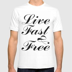 live fast & free MEDIUM Mens Fitted Tee White
