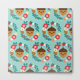 Acorn and Flowers Pattern Design / Blue Metal Print