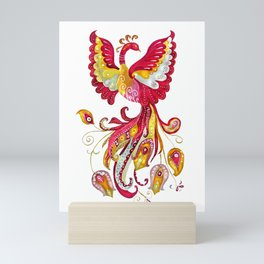 Watercolor Firebird Phoenix Fantasy Creature Mini Art Print