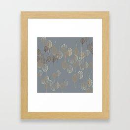 Golden Leaves - Gray Framed Art Print