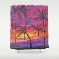 palms Shower Curtains featuring Palms by Lissasdesigns