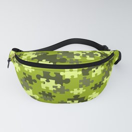 Puzzle pattern green color Fanny Pack