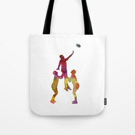 Rugby men players 01 in watercolor Tote Bag