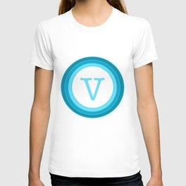 Blue letter V T-shirt