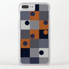 Navy & Rust Squares and Circles Clear iPhone Case