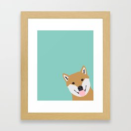 Shiba Inu Peek - cute shiba doge peeking funny dog art print mint turquoise customizable dog gift Framed Art Print