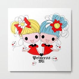 Princessmi illustration Two happy girls Metal Print
