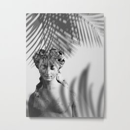Shadowy Woman - Black and White Photography Metal Print