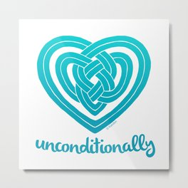 UNCONDITIONALLY in teal Metal Print