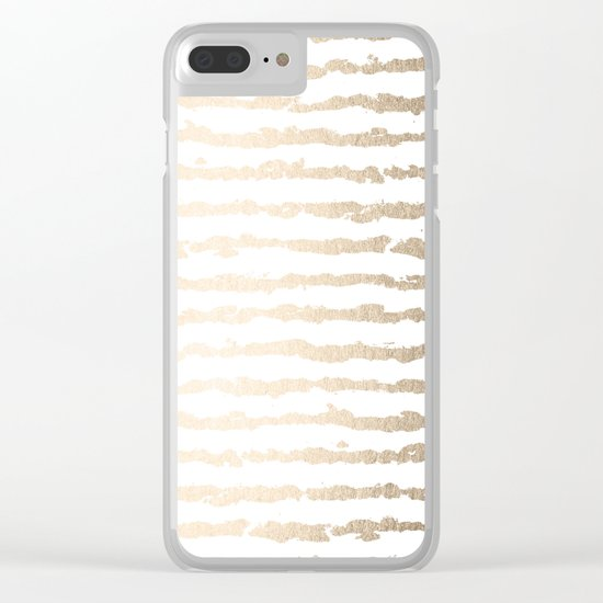 White Gold Sands Ink Stripes Clear iPhone Case