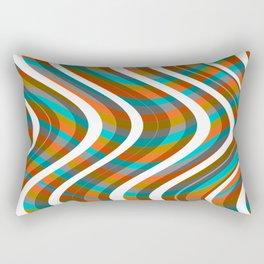 Wavy Lines - Orange and Grey Plaid Rectangular Pillow