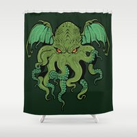 cthulhu Shower Curtains featuring Cthulhu by missmonster
