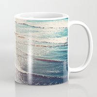 waves Mugs featuring Ocean Waves Retro by Kurt Rahn