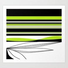 Green White Black Lines Art Print