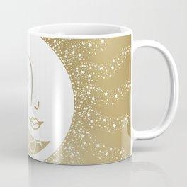 Moon Art, Gold, Mandala, Moon and Stars Art Coffee Mug