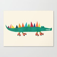Crocodile on Roller Skates Canvas Print