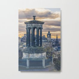 Edinburgh city and castle from Calton hill and Stewart monument 3 Metal Print