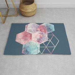 Geometric Hexagon Honeycomb Shapes, Pink, Blue, Watercolour Rug
