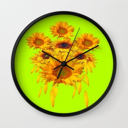 chartreuse Yellow Sunflowers Abstract Wall Clock