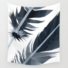 Black and White Feather polygon art Wall Tapestry