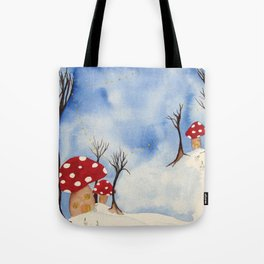Mushroom Houses in Winter by Twelve Little Tales Tote Bag