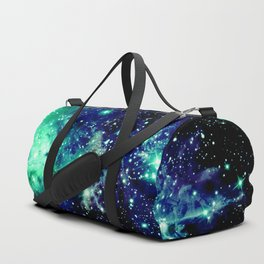 Fox Fur Nebula Galaxy Teal Midnight Blue Duffle Bag