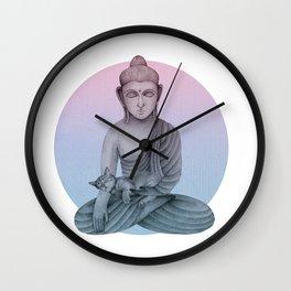 Buddha with cat 1 Wall Clock