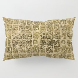 Mayan and aztec glyphs gold on vintage texture Pillow Sham