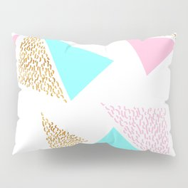 Gold, Pink, and Aqua Triangle Pattern Pillow Sham