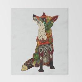 fox love off white Throw Blanket