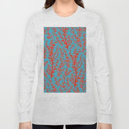 Turquoise and Red Leaves Pattern Long Sleeve T-shirt