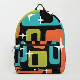 Retro Mid Century Modern Abstract Pattern 222 Orange Chartreuse Turquoise Backpack