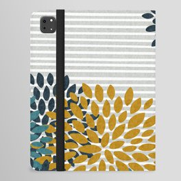 Floral Blooms and Stripes, Navy Blue, Teal, Yellow, Gray iPad Folio Case