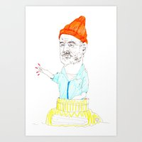 steve zissou Art Prints featuring steve zissou by withapencilinhand