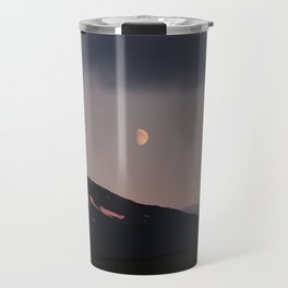 Moon over blackness and red pink ice Travel Mug
