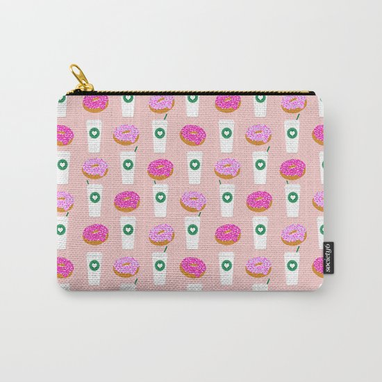Coffee and donuts cute latte breakfast food pattern print pastel pink girly coffee cell phone cases Carry-All Pouch