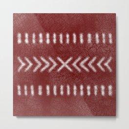 Minimalist Tribal Pattern on oxblood red Metal Print