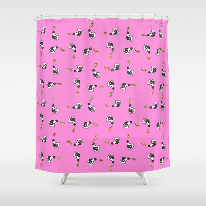 Cows And Pizza Shower Curtain By Thackshack