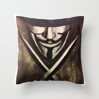 vendetta Throw Pillows featuring VENDETTA by The Traveling Catburys