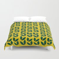 leaves Duvet Covers featuring Leaves by andy_panda_