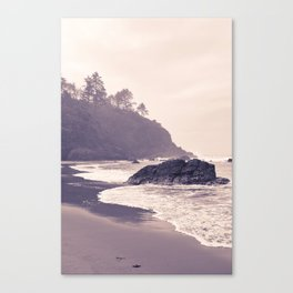Hazy Washington Coastal Landscape Seascape Mist Beach Ocean Surf Northwest PNW Wanderlust Scenic Art Canvas Print
