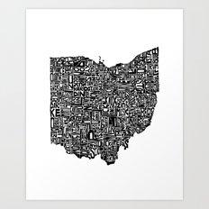 Typographic Ohio Art Print