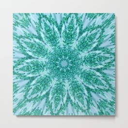 Vintage Doily Teal Green Kaleidoscope Metal Print