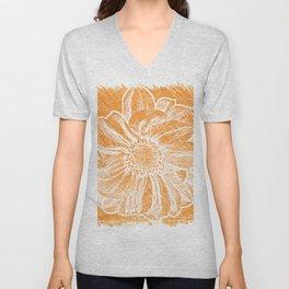 White Flower On Warm Orange Crayon Unisex V-Neck