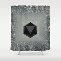 city Shower Curtains featuring City Intruder by Zavu