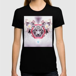 Abstract Tiger Fashion in geometric hexagon T-shirt