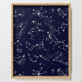 Zodiac Constellations in Night Navy Serving Tray