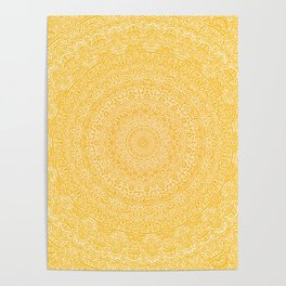 The Most Detailed Intricate Mandala (Mustard Yellow) Maze Zentangle Hand Drawn Popular Trending Poster