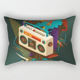 Bust Out The Jams Retro 80s Boombox Splash Rectangular Pillow